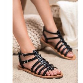 SHELOVET Czarne Sandały Rzymianki 1