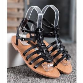 SHELOVET Czarne Sandały Rzymianki 3
