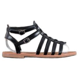 SHELOVET Czarne Sandały Rzymianki 4