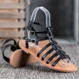 SHELOVET Czarne Sandały Rzymianki 5