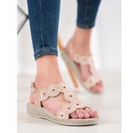 SHELOVET Eleganckie Sandały Na Platformie beżowy 5
