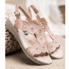 SHELOVET Eleganckie Sandały Na Platformie beżowy 4