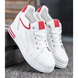 Lovery Sneakersy Na Koturnie białe 2