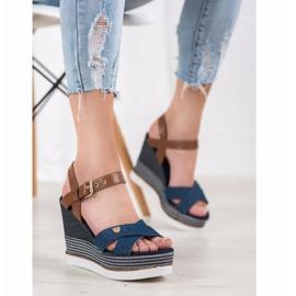SHELOVET Sandały Na Koturnie niebieskie 4