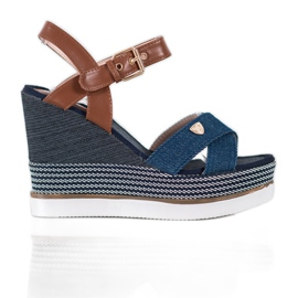 SHELOVET Sandały Na Koturnie niebieskie 1