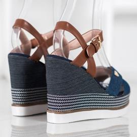 SHELOVET Sandały Na Koturnie niebieskie 2