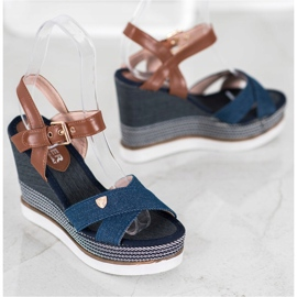 SHELOVET Sandały Na Koturnie niebieskie 3