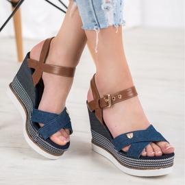 SHELOVET Sandały Na Koturnie niebieskie 5