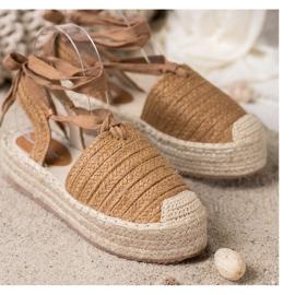 Seastar Wiązane Sandały Espadryle brązowe 2