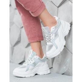 Sweet Shoes Wiązane Sneakersy białe szare 4