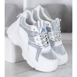 Sweet Shoes Wiązane Sneakersy białe szare 1