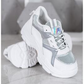 Sweet Shoes Wiązane Sneakersy białe szare 2