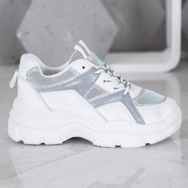 Sweet Shoes Wiązane Sneakersy białe szare 3