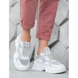 Sweet Shoes Wiązane Sneakersy białe szare 5