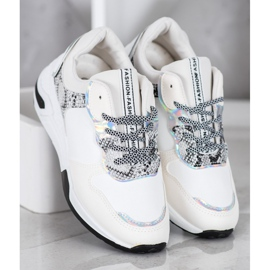 SHELOVET Sneakersy Snake Print białe wielokolorowe 3