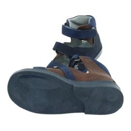 Sandałki wysokie profilaktyczne Mazurek 291 granat/brąz granatowe 4