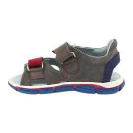 Sandałki na rzepy Mazurek 314 popiel/czerwony czerwone niebieskie szare 1