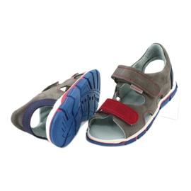 Sandałki na rzepy Mazurek 314 popiel/czerwony czerwone niebieskie szare 3