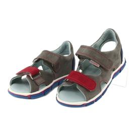 Sandałki na rzepy Mazurek 314 popiel/czerwony czerwone niebieskie szare 2