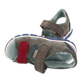 Sandałki na rzepy Mazurek 314 popiel/czerwony czerwone niebieskie szare 4