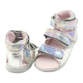 Sandałki wysokie profilaktyczne Mazurek 291 silver szare 3