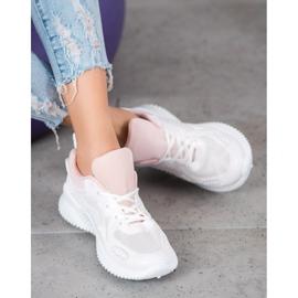 SHELOVET Sneakersy Z Siateczką białe 3