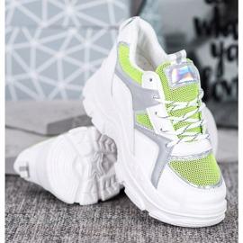 Sweet Shoes Wiązane Sneakersy białe zielone 3