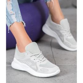 SHELOVET Sneakersy Z Siateczką szare 4