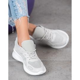 SHELOVET Sneakersy Z Siateczką szare 1