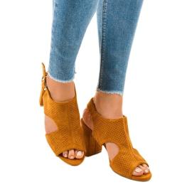 Camel sandały ażurowe z wycięciem 99-33A brązowe 1
