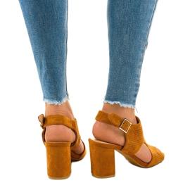 Camel sandały ażurowe z wycięciem 99-33A brązowe 3