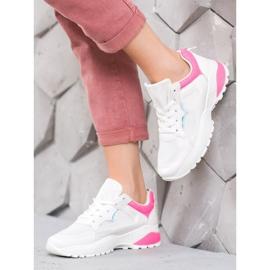SHELOVET Sneakersy Z Różowymi Wstawkami białe różowe 1