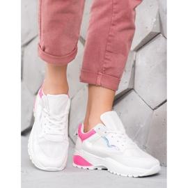 SHELOVET Sneakersy Z Różowymi Wstawkami białe różowe 4
