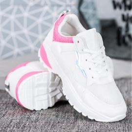 SHELOVET Sneakersy Z Różowymi Wstawkami białe różowe 2