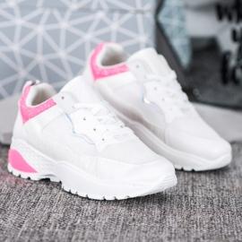 SHELOVET Sneakersy Z Różowymi Wstawkami białe różowe 3
