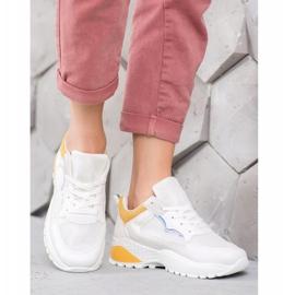 SHELOVET Sneakersy Z Jasnopomarańczowymi Wstawkami białe pomarańczowe 4