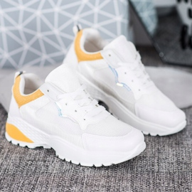 SHELOVET Sneakersy Z Jasnopomarańczowymi Wstawkami białe pomarańczowe 3