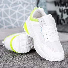 SHELOVET Sneakersy Z Żółtymi Wstawkami białe 2