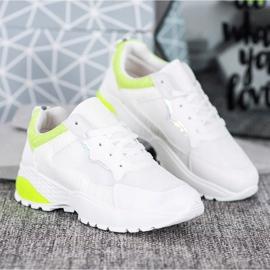 SHELOVET Sneakersy Z Żółtymi Wstawkami białe 3