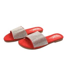 Czerwone klapki z cyrkoniami 839-761 szare 2