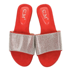 Czerwone klapki z cyrkoniami 839-761 szare 4