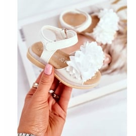 FRROCK Dziecięce Sandałki Na Rzep Świecące Białe Milena 1