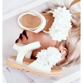 FRROCK Dziecięce Sandałki Na Rzep Świecące Białe Milena 4