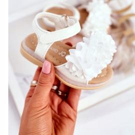 FRROCK Dziecięce Sandałki Na Rzep Świecące Białe Milena 2