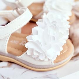 FRROCK Dziecięce Sandałki Na Rzep Świecące Białe Milena 3