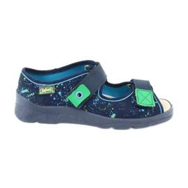 Befado obuwie dziecięce  869Y142 granatowe zielone 1