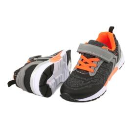 NEWS buty sportowe na rzepy 20DZ55-1777 czarne pomarańczowe szare 3