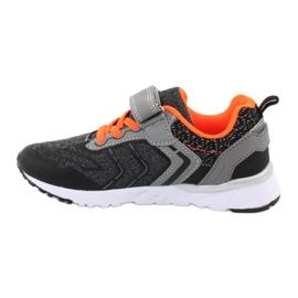 NEWS buty sportowe na rzepy 20DZ55-1777 czarne pomarańczowe szare 1