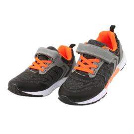 NEWS buty sportowe na rzepy 20DZ55-1777 czarne pomarańczowe szare 2