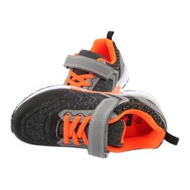 NEWS buty sportowe na rzepy 20DZ55-1777 czarne pomarańczowe szare 4